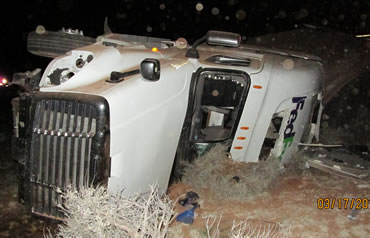 FedEx truck after collision with livestock